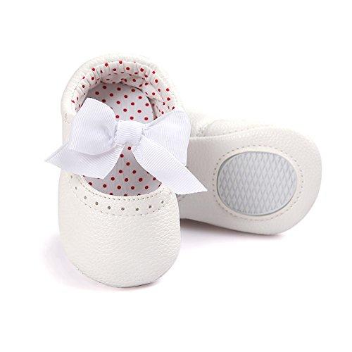 Pueri Rosado Sandalia del bebé Zapatillas agradables adornado con lazo para los primeros pasos Forma de elástico blanco