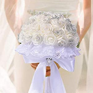 Nifera Wedding Bouquet, White Artificial Rose Flowers for Brides Bridesmaids with Bow Knot Soft Ribbons Brides Keeping Flowers for Party Church Wedding Memories Forever 53