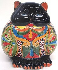 Talavera Fat CAT Planter - Pottery Talavera