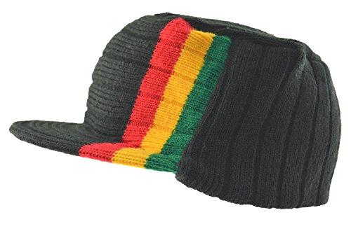 (JKO Men's Jamaica Rasta Stripe Flat Top Knit Visor Beanie Jeep)