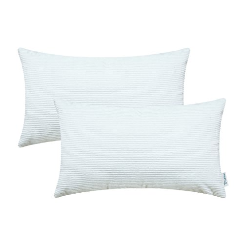 Pack of 2 CaliTime Cozy Bolster Pillow Covers Cases for Couch Bed Sofa, Ultra Soft Corduroy Striped Both Sides, 12 X 20 Inches, White (White Bolster)
