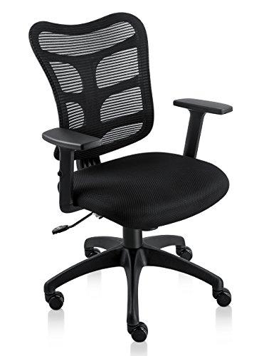 NKV Ergonomic Office Chair Mesh Computer Desk Chair Swivel Task Chair with Adjustable Armrests (Black)