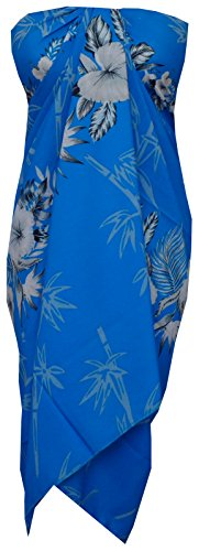 Sarong 35 Women Bamboo Tree Printed Beach Swimsuit Wrap One Size Pareo Sky Blue ()
