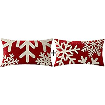 Amazon.com: NIDITW Happy Holidays Snowflakes Falling Red ...