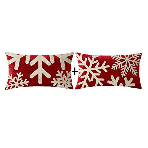 NIDITW Set of 2 Happy Holidays Snowflakes Falling Red Cotton Linen Throw Pillowcase Cushion Cover Sofa Chair Decorative Rectangle 12x20 Inches