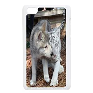 Qxhu Two the lovely white tiger Hard Plastic Cover Case for Ipod Touch4