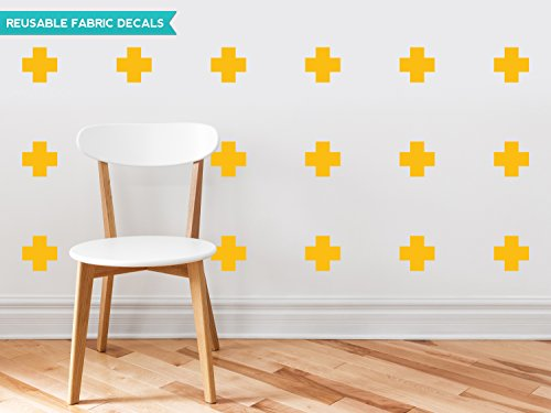 Yellow Cross Pattern (Plus Sign Fabric Wall Decals - Set of 18 Plus Sign Decals - Yellow Orange - Cross Sign Pattern Decor - Reusable, Repositionable)