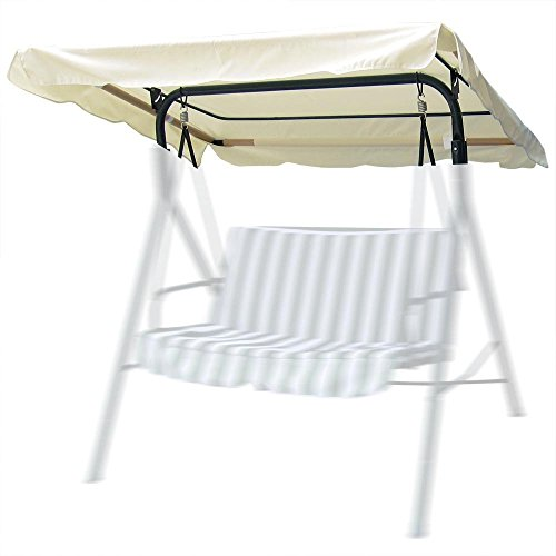 Durable 77''x43'' Swing Canopy Replacement Porch Top Cover Park Seat Furniture Patio - Beige by B & D Inc