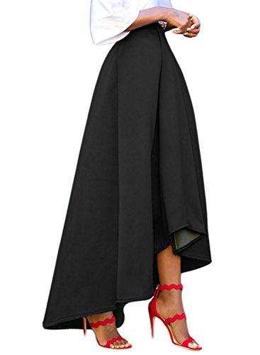 Deux Haut Plisse Taille Noir Dokotoo Patineuse Chic Jupe Longue Vintage Femme avec Haute Jupe Bas Poches StxtzO