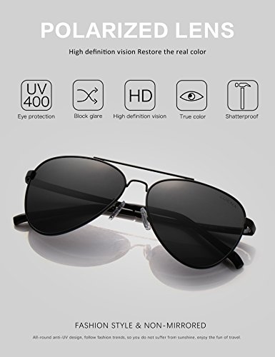 de conducción Hombre 400 Aviador Protección el gafas sol negro UV con LUENX 13 caso polarizado 60mm de BqSwxY0