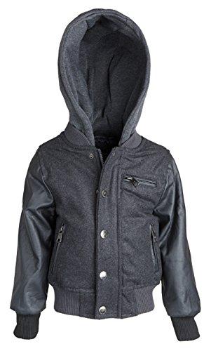 Varsity Pleather Jacket - Urban Republic Little Boys Plaid Wool Blend Varsity Jacket with Pleather Sleeves - Charcoal (Size 3T)