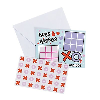 Tic-Tac-Toe Valentine Sticker Cards, 24 - Card Trading Stickers
