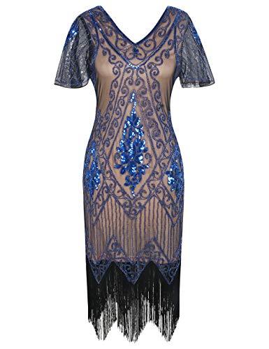PrettyGuide Women's 1920s Dress Art Deco Flapper Dress with Sleeve S Beige Blue ()