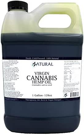 Hemp Oil Virgin, Cold-Pressed_100% Pure_No Fillers or Additives, Therapeutic Grade (NEW LOOK-SAME AMAZING PRODUCT) (1 Gallon)