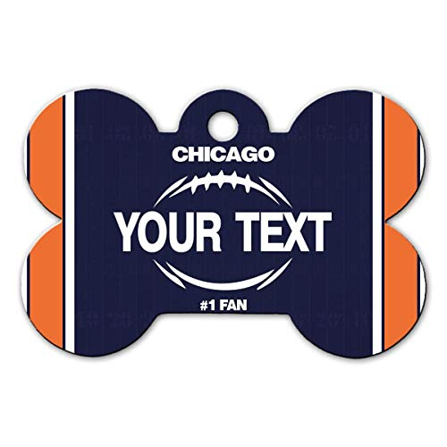 BRGiftShop Personalize Your Own Football Team Chicago Bone Shaped Metal Pet ID Tag with Contact ()