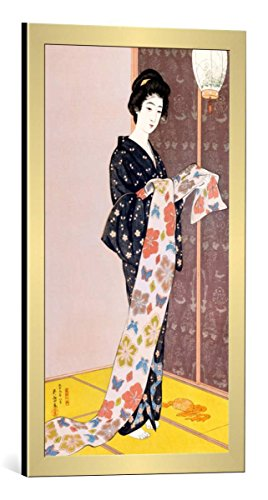- Framed Art Print: Goyo Hashiguchi Junge Frau in Einem Sommer-Kimono - Decorative Fine Art Poster, Picture with Frame, 16x30 inch, Gold Brushed