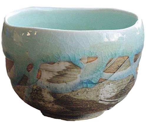 Matcha bowl 4.33'' dia. Japanese tea cup for tea ceremony, Authentic Mino Ware Pottery, Chawan, Sky-blue crackle glaze pattern M5897 from Japan by Mino Ware