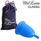 MeLuna Classic Menstrual Cup with stem handle (Large, Blue)