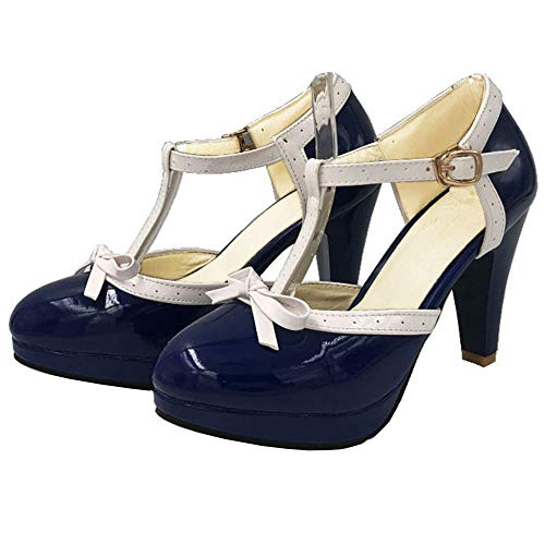 Vitalo Women's High Heel Platform Pumps with Bows Vintage T Bar Court Shoes Size 9 B(M) US,Navy Blue
