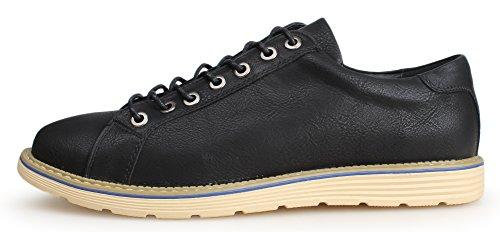 04 Lace Up Leather Shoes Brogue Dress Kunsto Mens Black Oxford OZ466w