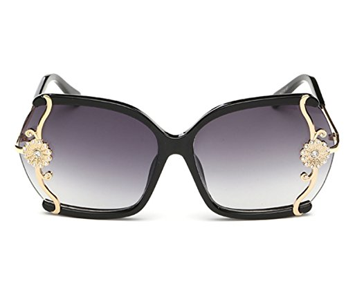 [Heartisan Vintage Embedded Crystal Camellia Oversized Frame Women Sunglasse C1] (James Bond Womens Costumes)