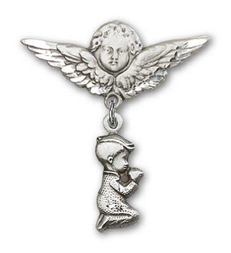 Icecarats Créatrice De Bijoux En Argent Sterling Garçon Prier Charme Ange Broche De Badge 1 1/4 X 1 1/8
