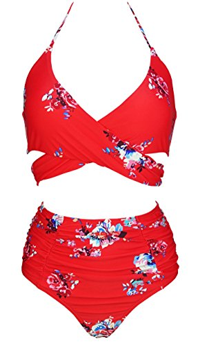 COCOSHIP Red & White & Jade Pink Garden Flower Retro Ruching High Waist Bikini Set Push up Cross Top Sport Tie Back Bathing Swimwear (Waist Tie Back Top)