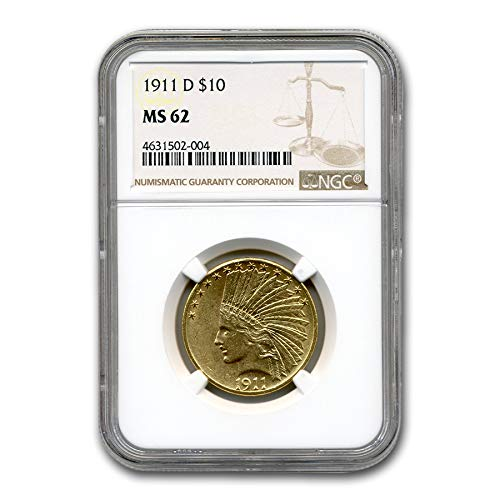 1911 D $10 Indian Gold Eagle MS-62 NGC G$10 MS-62 NGC
