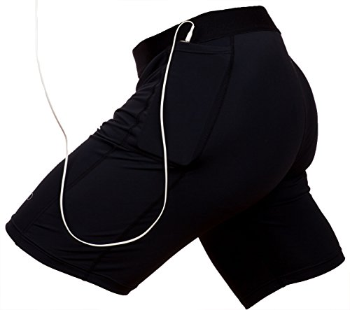 Compression Workout Shorts with Custom Phone Pocket by THE II BRO, Black (Med) -