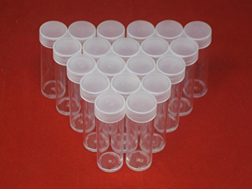 (20) Edgar Marcus Brand Round Clear Plastic (Nickel) Size Coin Storage Tube Holders with Screw on Lid