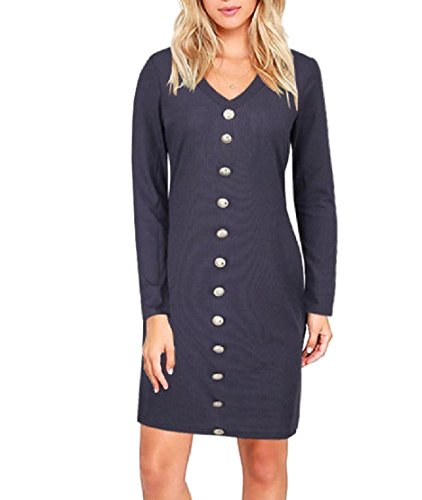Length Womens Breasted Solid Dress V Mid Blue Neck Single Comfy Skinny Party g4q66w8