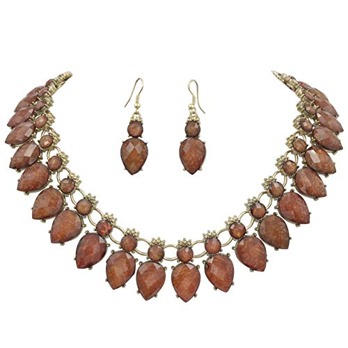 (Gypsy Jewels Bright Abstract Bib Statement Boutique Necklace & Earrings Set - Assorted Colors (Brown Foil))