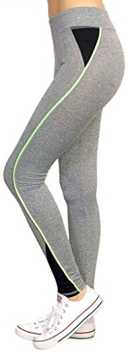 ToBeInStyle Women's Piping Marled Active Leggings - Grey-Neon Green - S