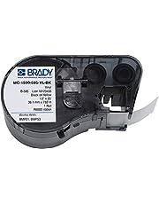 "Brady MC-1500-595-YL-BK Vinyl B-595 Black on Yellow Label Maker Cartridge, 25' Width x 1-1/2"" Height, for BMP51/BMP53 Printers"
