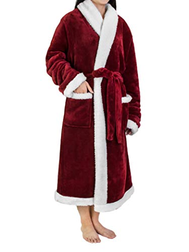 Premium Women's Sherpa Fleece Robe | Luxurious Soft, Warm, Plush Bathrobe -