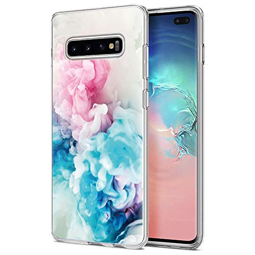 (Eouine Samsung Galaxy S10 Plus Case, Phone Case Transparent Clear with Pattern Ultra Slim Shockproof Soft Gel TPU Silicone Back Cover Bumper Skin for Samsung Galaxy S10 Plus (Pink Blue))