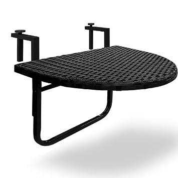 37c1cef3c5465 Table de balcon tablette suspendue 60 x 40,5 en polyrotin rabattable - Noire