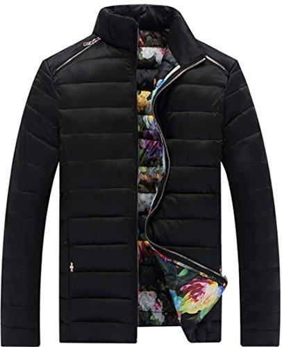 Coat Mens xl Jackets EKU Stitching Zipper padded Warm Cotton Casual black 1wZqPH6
