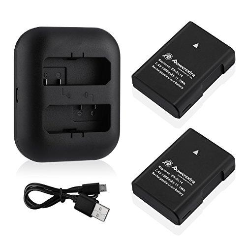 Powerextra 2 Pack Replacement Battery and Dual Battery Charger for Nikon EN-EL14, EN-EL14a, and Nikon P7000, P7100, P7700, P7800, D3100, D3200, D3300, D5100, D5200, D5300, Df