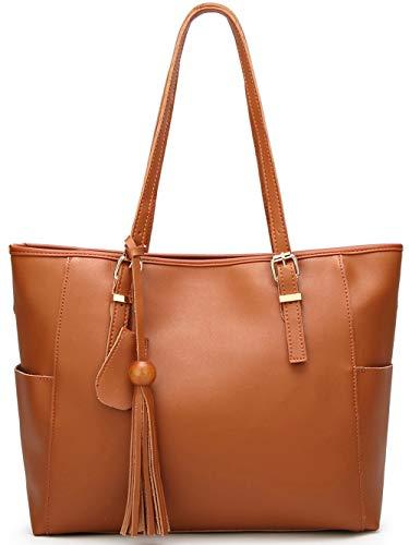 Dreubea Womens Fashion Tassel Handbag Large Tote Shoulder Laptop Bag for Work Brown