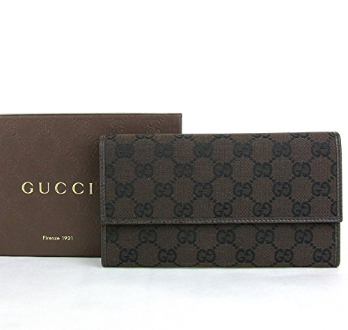 Gucci Wallets Continental Wallet (Gucci Women's GG Continental Brown Canvas Long Wallet with Coin Pocket 257303 8890)