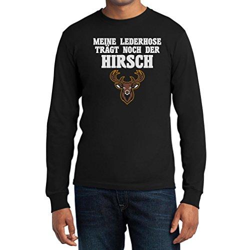 Meine Lederhose Trägt Noch Der Hirsch - Lustiges Wiesn Outfit Langarm T-Shirt Large Schwarz