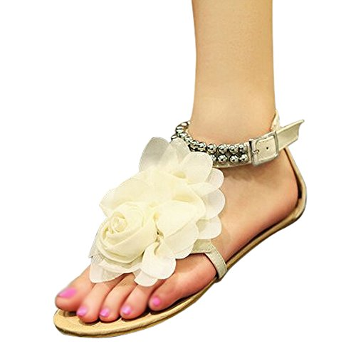 TOOGOO(R) Gladiator Sandals for Women Female Beaded Flower Flat Summer Flip-flop Flats Women's Shoes Bohemia Sandals beige size 6