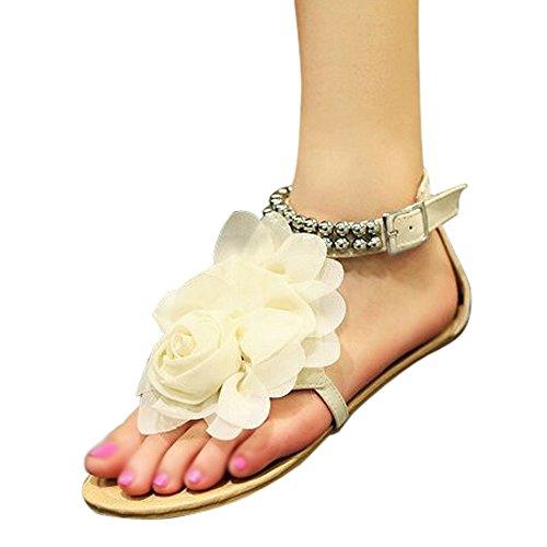 R Flop fuer flache Gladiator wulstige Beige weibliche beige Flip 4 Frauen Damenschuhe Schuhe flache Sandalen Groesse SODIAL Sandalen Sommer Blume Boehmen fdqtwxBB