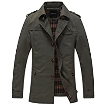 Wantdo Men's Cotton Single Breasted Trench Jacket US X-Large Green