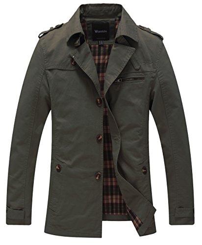 (Wantdo Men's Cotton Single Breasted Windbreaker Jacket US Medium Green)