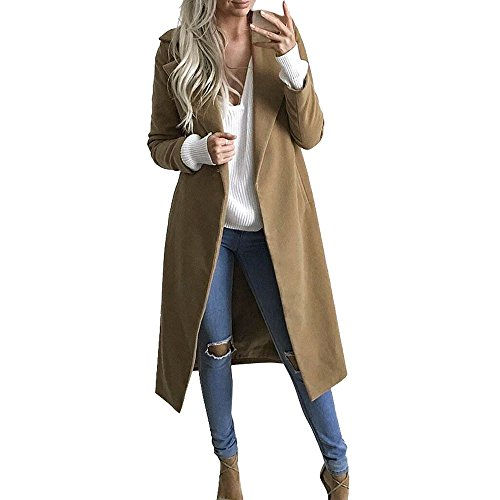 Women's Lapel Collar Open Front Slim Long Trench Coat Cardigan Parka Jacket (M=Asian Size Label L, Khaki)