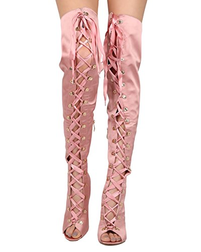 Cape Robbin Olga-26 Womens Satin Thigh High Peep Toe Lace Up Stiletto Boot Pink Size 6.5 (Pink Thigh Boots)