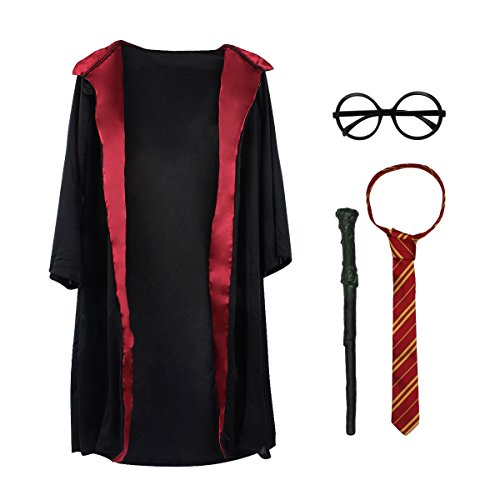 Toiijoy Kids 4Pcs Magical Wizard Costume Hooded Robe Role Play Dress up Set with Glasses,Tie and Wand for Children 3-8 -