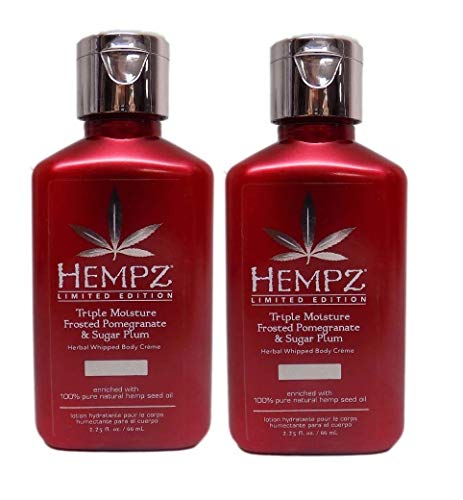 HEMPZ DUO 2 PACK - Frosted Pomegranate & Sugar Plum Mini 2.25 oz Travel Size Limited Edition Herbal Body Lotion Tan Extender